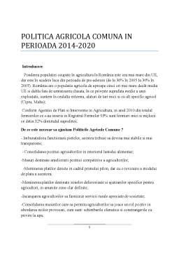 Proiect - Politica Agricola Comuna in Perioada 2014-2020