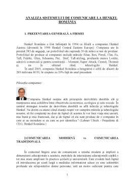 Proiect - Analiza Sistemului de Comunicare la Henkel România