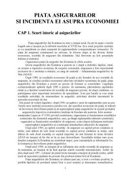 Proiect - Piata Asigurarilor si Incidenta ei Asupra Economiei