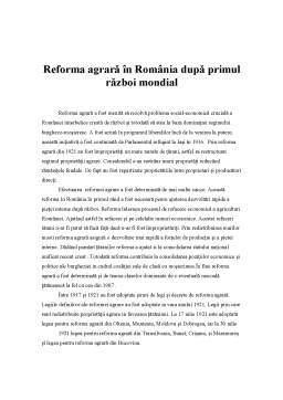 Referat - Reforma Agrara in Romania dupa Primul Razboi Mondial