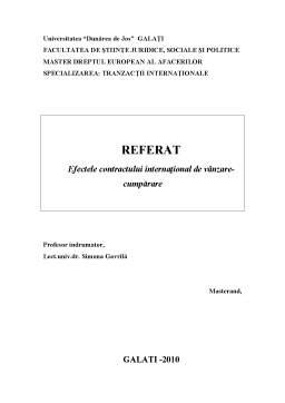 Proiect - Efectele Contractului Internațional de vânzare-cumpărare