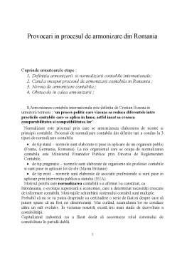 Referat - Provocari in Procesul de Armonizare in Romania