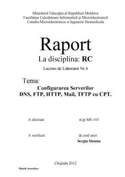 Laborator - Configurarea Serverilor DNS, FTP, HTTP, Mail, TFTP cu CPT