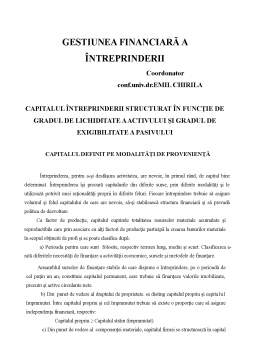 Curs - Gestiunea Financiară a Întreprinderii