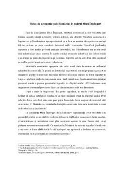 Referat - Relațiile Economice ale României în Cadrul Micii Înțelegeri