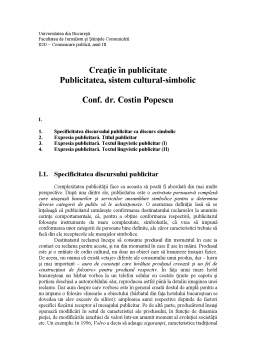 Curs - Creatie in Publicitate - Publicitatea, Sistem Cultural-Simbolic - Capitolul 1