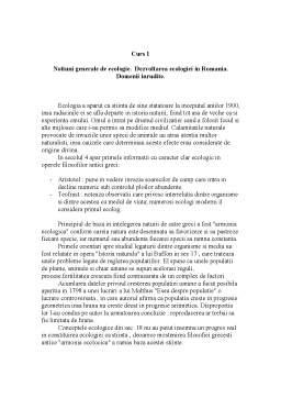 Curs - Notiuni Generale de Ecologie Curs 1