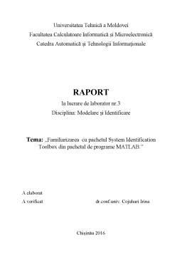 Curs - Familiarizarea cu pachetul System Identification Toolbox din pachetul de programe MATLAB