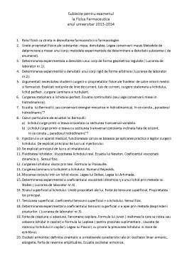 Curs - Subiecte pentru examenul fizica