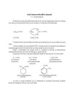 Curs - Acizi monocarboxilici - Nomenclatura si structura
