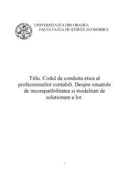 Referat - Codul de conduita etica al profesionistilor contabili
