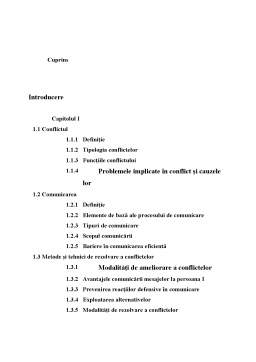 Proiect - Comunicare și Rezolvarea Conflictelor