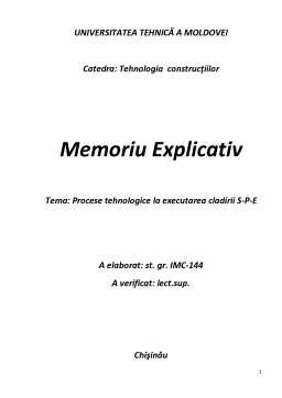 Proiect - Procese tehnologice la executarea cladirii S-P-E