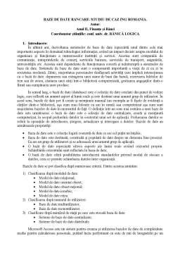 Proiect - Baze de date bancare - studiu de caz ING România
