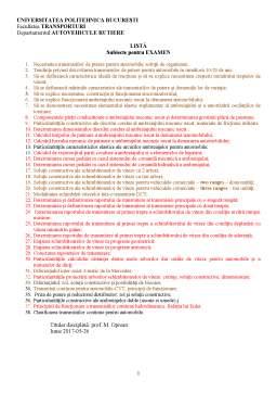 Notiță - Transmisii pentru autovehicule - subiecte examen
