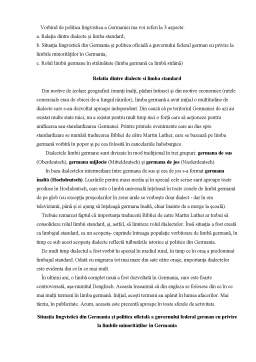 Referat - Politica lingvistica a Germaniei