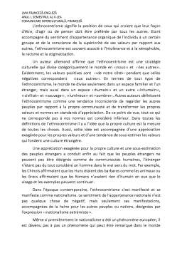 Referat - Le conflit interculturel et l'ethnocentrisme