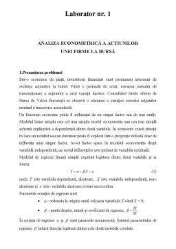 Laborator - Econometrie - Regresie simplă și multiplă