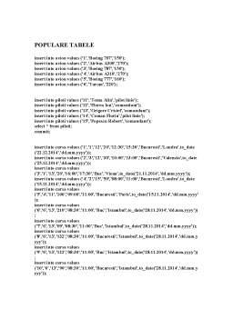 Proiect - Baze de date - Gestionarea unei agenții de transporturi aeriene