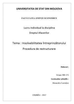 Laborator - Insolvabilitatea întreprinzătorului - Procedură de restructurare