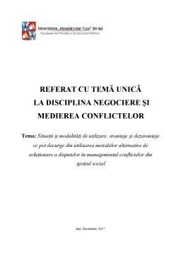 Seminar - Soluționarea disputelor în managementul conflictelor din spațiul social