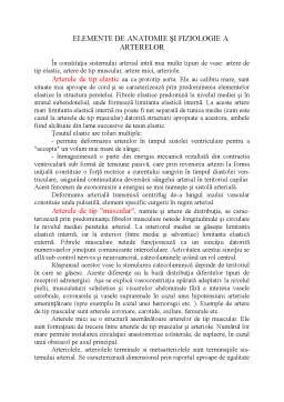 Curs - Elemente de anatomie și fiziologie a arterelor
