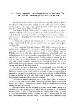 Referat - Dezvoltarea competențelor de comunicare orală în limba străină