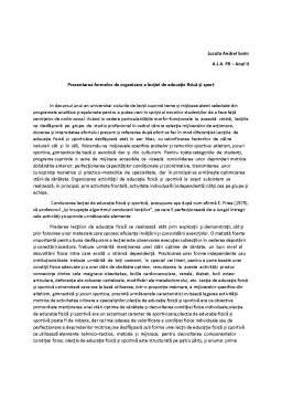 Curs - Prezentarea formelor de organizare a lecției de educație fizică și sport