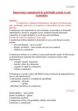 Curs - Comunicare - Obiective si functii