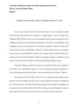 Referat - A glance into the many sides of Marilyn Monroe's Life