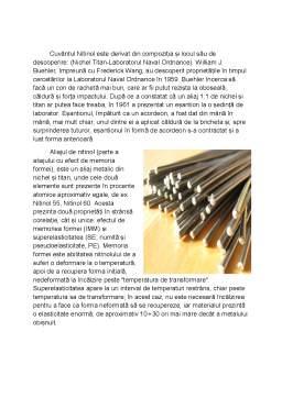 Proiect - Aliaje cu efect de memoria formei nitinol (Ni-Ti)