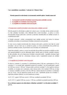 Curs - Metoda punerii în echivalență și tratamentul contabil aplicat fondul comercial
