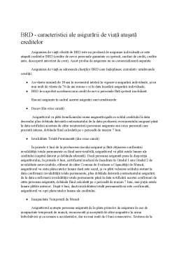Proiect - Asigurări de viață în contracte de creditare - comparație BCR - BRD