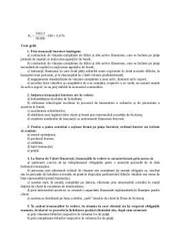 Curs - Tranzacții bursiere derulate la Bursa de Valori București