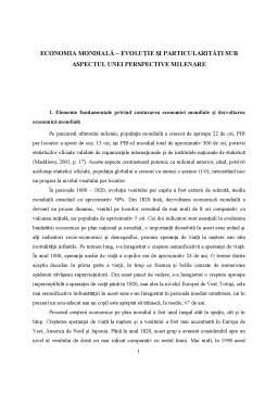 Curs - Economia mondială - evoluție și particularități sub aspectul unei perspective milenare