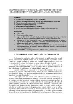 Proiect - Organizarea și funcționarea centrelor de reținere și arest preventiv în cadrul unităților de poliție