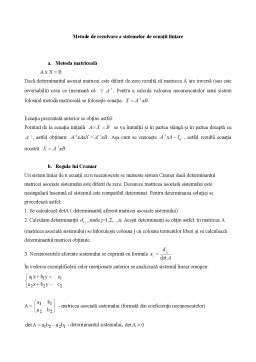 Curs - Sisteme de ecuații liniare curs recapitulativ