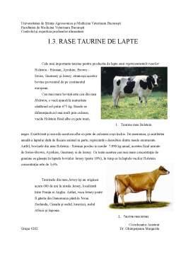 Proiect - Evoluția creșterii taurinelor de lapte