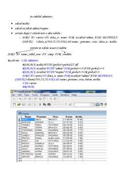 Notiță - Visual Fox Pro