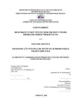 Licență - imagistica în textele de ficțiune și problemele traducerii sale