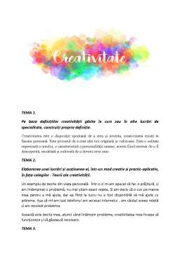 Proiect - Portofoliu psihologia cretivitatii