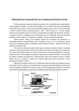Laborator - Raționalizarea consumului de cocs la elaborarea fontei în furnal