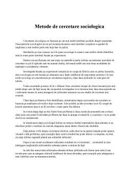 Referat - Metode de cercetare sociologică