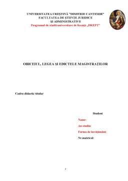 Referat - Obiceiul, legea și edictele magistraților
