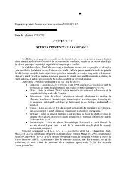 Proiect - Analiza și evaluarea acțiunii MedLife SA