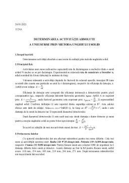 Laborator - Determinarea activității absolute a unei surse prin metoda unghiului solid