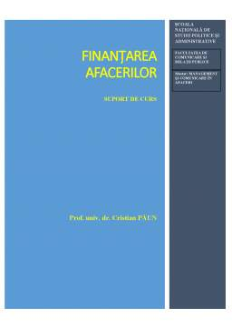 Curs - Finanțarea Afacerilor
