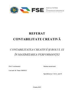 Proiect - Contabilitatea creativă și rolul ei în maximizarea performanței
