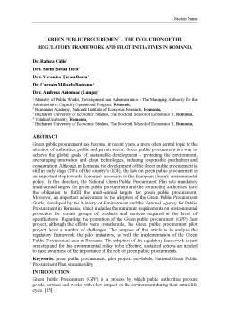 Referat - Green public procurement - the evolution of the regulatory framework and pilot initiatives în România