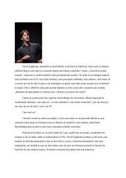 Referat - Creierul, Povestea Noatra de David Eagleman
